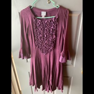 Womens sz 6, 3/4 sleeve dark purple/eggplant dress